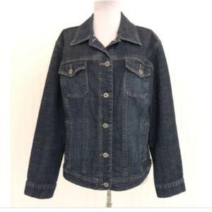 Chico's Platinum Jean Jacket Size 2 Large L/S Blue